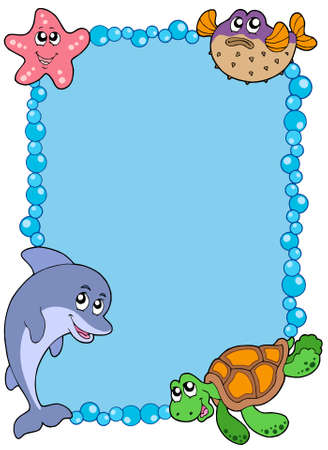 Frame with sea animals 1 - vector illustration. Stock Vector - 5492796