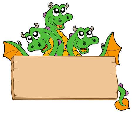 lurk: Drago con cartello in legno - illustrazione vettoriale.