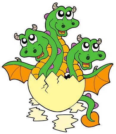 three headed: Little three headed dragon in egg - vector illustration. Illustration