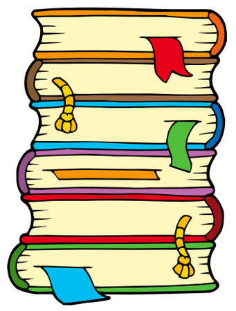 Pile of old books - vector illustration. Stock Vector - 5492783
