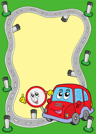 Road frame with cute car - vector illustration. Vettoriali