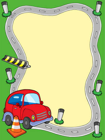 Road frame with small car - vector illustration. Stock Vector - 5492795