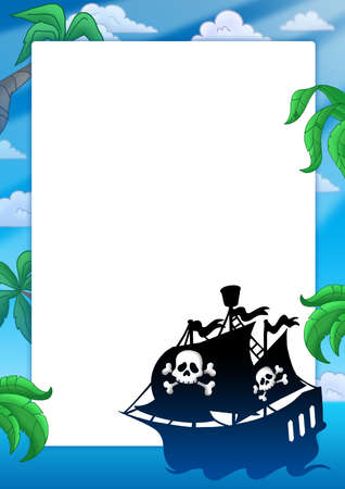 Frame with pirate ship silhouette - color illustration. illustration