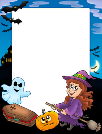 Halloween frame 3 with various objects - color illustration. illustration