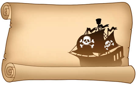 pirates flag design: Parchment with pirate ship silhouette - color illustration. Stock Photo