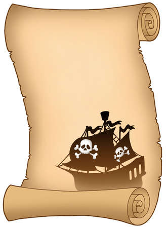 Scroll with pirate ship silhouette - color illustration. illustration