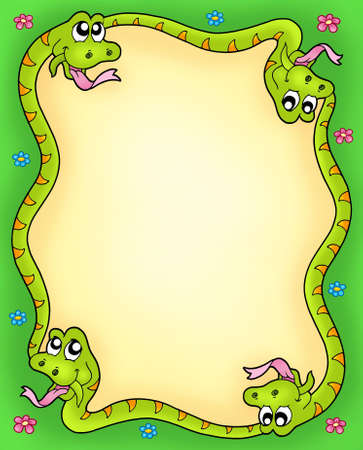 Snake frame with flowers 3 - color illustration. illustration