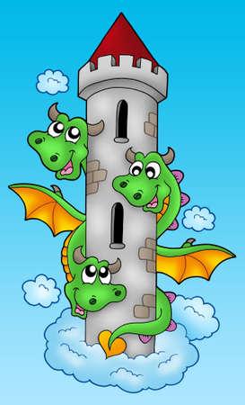 lurk: Three headed dragon on sky - color illustration.