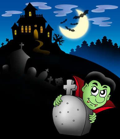 Vampire with haunted mansion - color illustration. illustration
