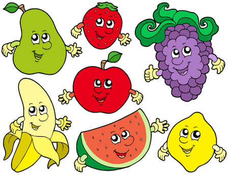 Colección de frutas de dibujos animados 2 - ilustración vectorial.