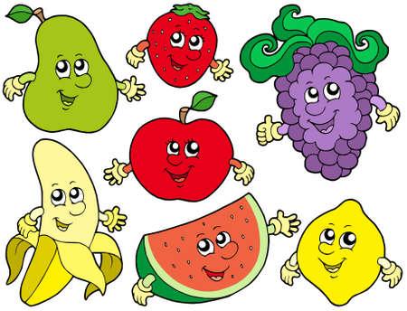 Cartoon fruits collection 2 - vector illustration. Vettoriali