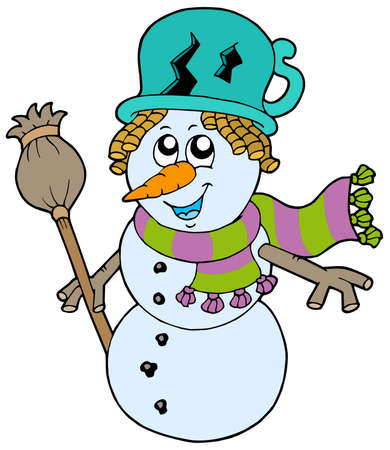 Cute snowman with scarf and broom - vector illustration. Stock Vector - 5564253