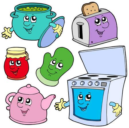 Keuken cartoons op witte achtergrond - vector afbeelding.  Vector Illustratie