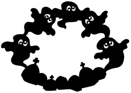 Round frame with ghost silhouette - vector illustration. Vector