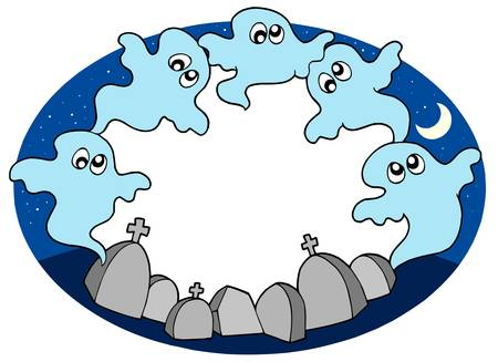 Round frame with ghosts - vector illustration. Vector