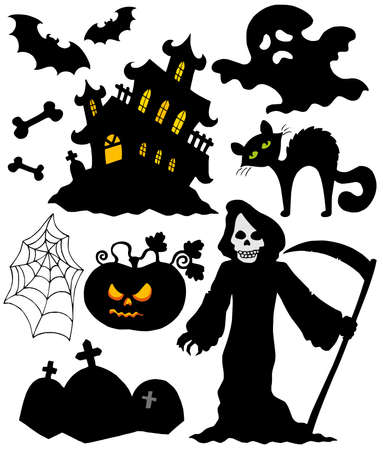 gravestone: Set of Halloween silhouettes - vector illustration.