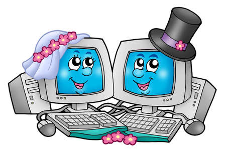 Cute wedding computers - color illustration. illustration