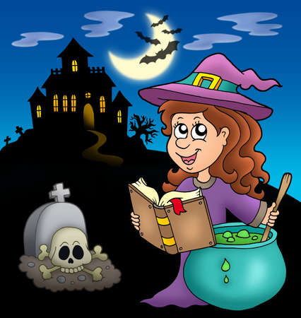 Cute witch with potion and mansion - color illustration. illustration