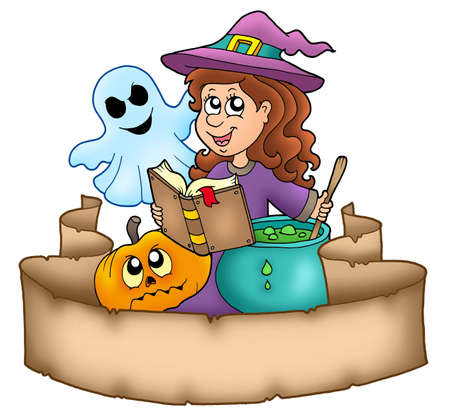 Halloween banner with characters - color illustration. illustration