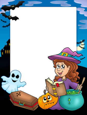 flying coffin: Halloween frame 4 with various objects - color illustration. Stock Photo