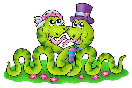 grass snake: Wedding image with cute snakes - color illustration.