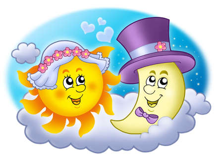 Wedding image with Sun and Moon - color illustration. Stock Illustration - 5564259