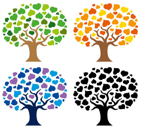 Various trees silhouettes - vector illustration. Vector