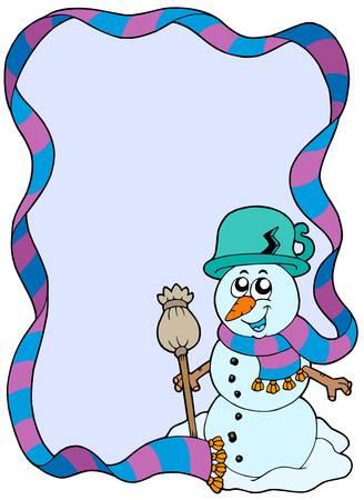 Winter frame with cartoon snowman - vector illustration. Vector
