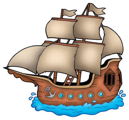 old window: Old ship on white background - color illustration. Stock Photo