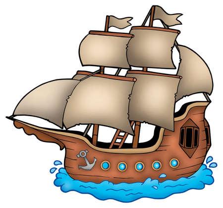 vessels: Old ship on white background - color illustration. Stock Photo
