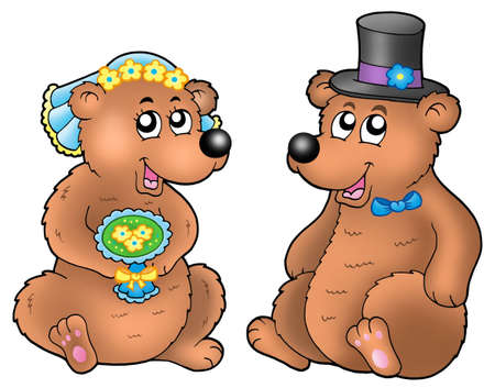 Pair of cute wedding bears - color illustration. illustration