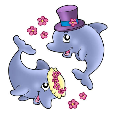 Pair of cute wedding dolphins - color illustration. Stock Illustration - 5587557