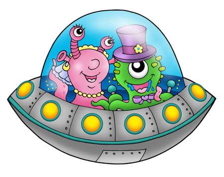 alien clipart: UFO wedding couple - color illustration. Stock Photo