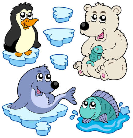 Arctic animals collection - vector illustration.
