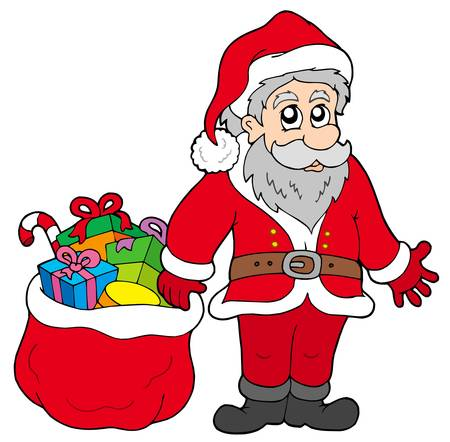 Happy Santa Claus with gifts - vector illustration. Vector