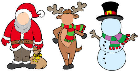 Christmas characters without face - vector illustration. Vector
