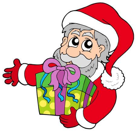 Santa Claus holding gift - vector illustration. Vector