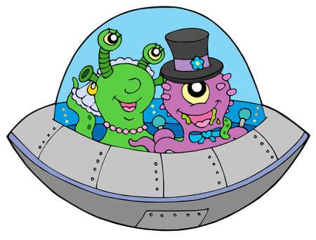UFO wedding on white background - vector illustration. Vector
