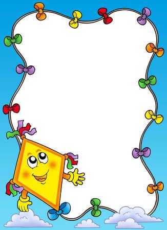 Autumn frame with flying kite - color illustration. Stock Illustration - 5621173