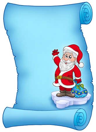 Blue parchment with Santa Claus 2 - color illustration. illustration