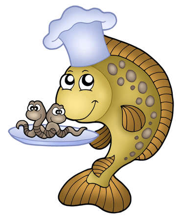worms: Carp chef with earthworms - color illustration.