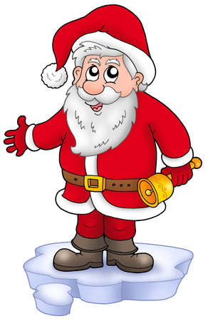 santa suit: Cute Santa Claus with bell on snow - color illustration. Stock Photo