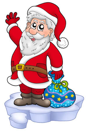 santa suit: Cute Santa Claus with gifts on snow - color illustration.