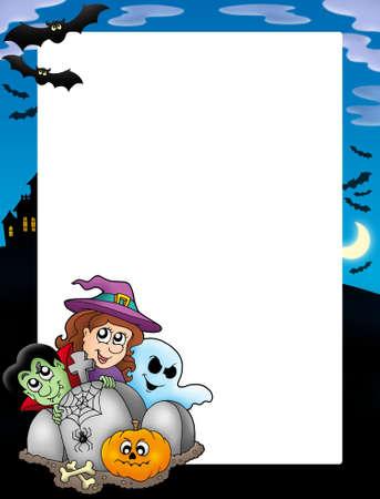 Halloween frame 5 on white background - color illustration. illustration
