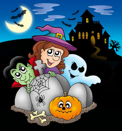 Halloween characters before mansion - color illustration. illustration