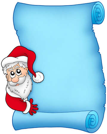 Christmas blue scroll with Santa 1 - color illustration. illustration