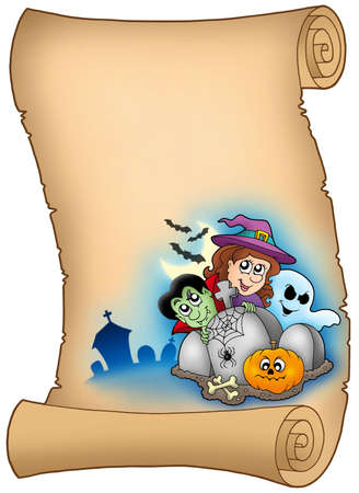 Parchment with Halloween characters - color illustration. illustration