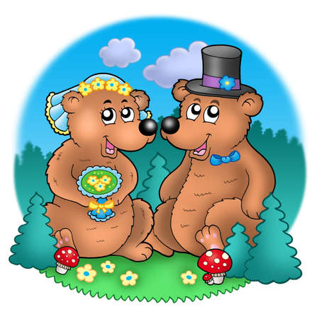 Wedding image with bears on meadow - color illustration. illustration