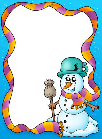 Winter frame with cute snowman - color illustration. Stock Illustration - 5621179