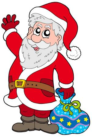 Cute Santa Claus with gifts - vector illustration. Vector